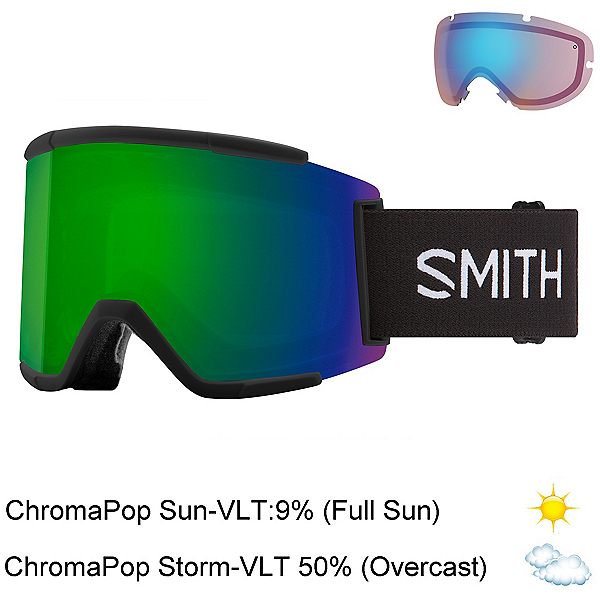 Smith Squad XL Goggles 2022, Black-Chromapop Sun Green Mirr + Bonus Lens, 600