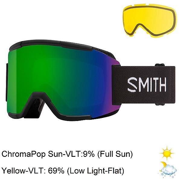 Smith Squad Goggles 2022, Black-Chromapop Sun Green Mirr + Bonus Lens, 600