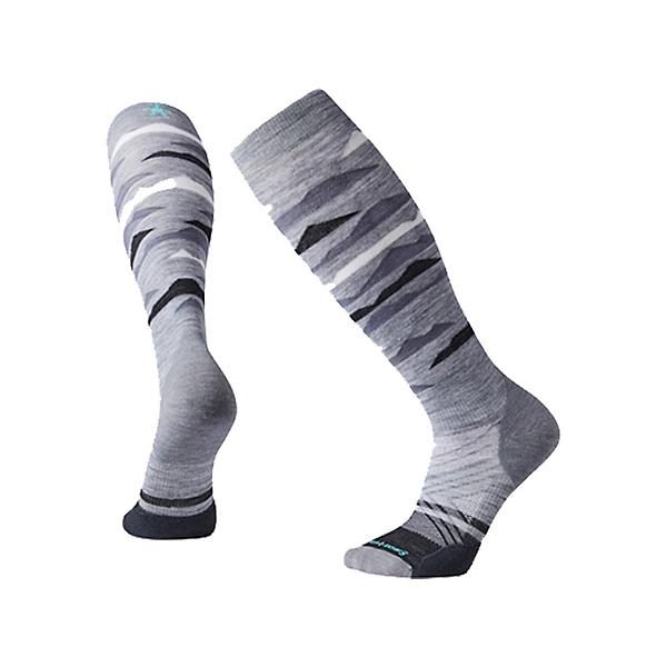 SmartWool PhD Ski Light Elite Pattern Ski Socks 2022, Light Gray, 600