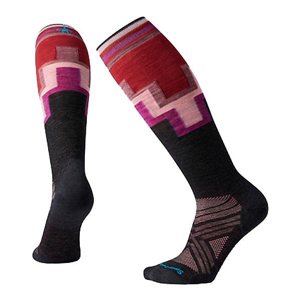 SmartWool PhD Ski Ultra Light Pattern Womens Ski Socks, Charcoal, 600