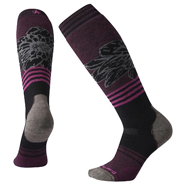 SmartWool PhD Snow Medium Traced Dahlia Pattern Womens Snowboard Socks, Black, 600