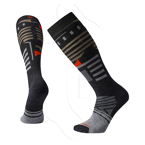 SmartWool PhD Ski Medium Pattern Ski Socks, Charcoal, 600
