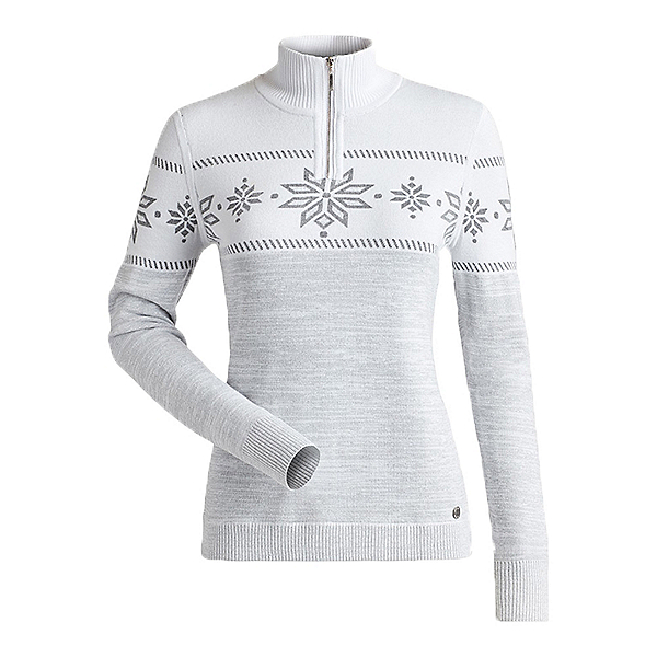 NILS Snowflake Womens Sweater, White Silver Met Marled, 600