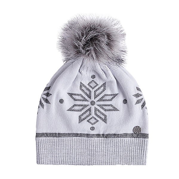 NILS Snowflake Knit Womens Hat, White-Silver Marled, 600