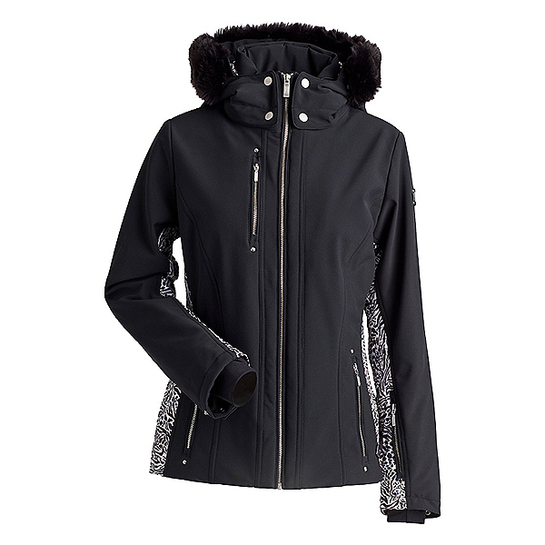 NILS Cosette Faux Fur Womens Insulated Ski Jacket, Black-Animal Print, 600