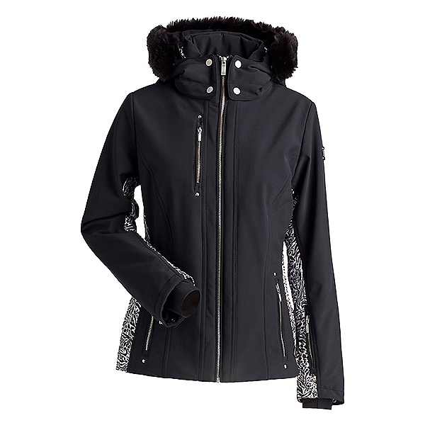 NILS CossetteX Faux Fur Womens Insulated Ski Jacket, Black-Animal Print, 600
