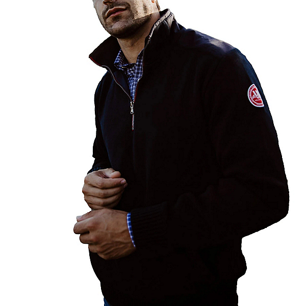 HOLEBROOK Gregor 1/4 Zip Windproof Cotton Mens Sweater 2022, Navy, 600