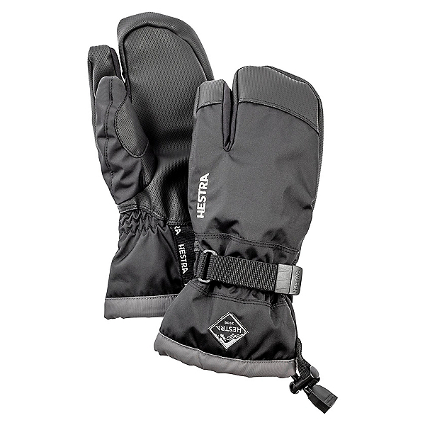 Hestra Gauntlet Czone 3 Finger Kids Gloves, Black-Graphite, 600