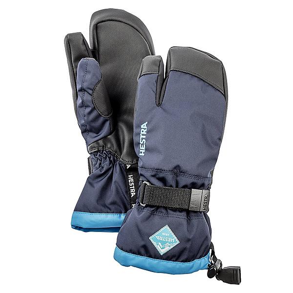 Hestra Gauntlet Czone 3 Finger Kids Gloves, Dark Navy-Turquise, 600