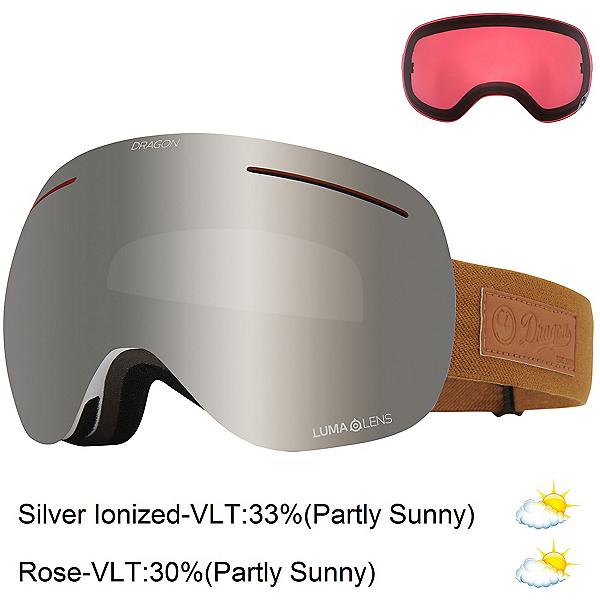 Dragon X1 Goggles, Coyote-Lumalens Silver Ion + Bonus Lens, 600