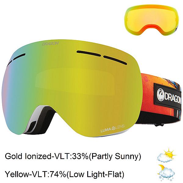 Dragon X1s Goggles, Hot Duck-Lumalens Gold Ion + Bonus Lens, 600