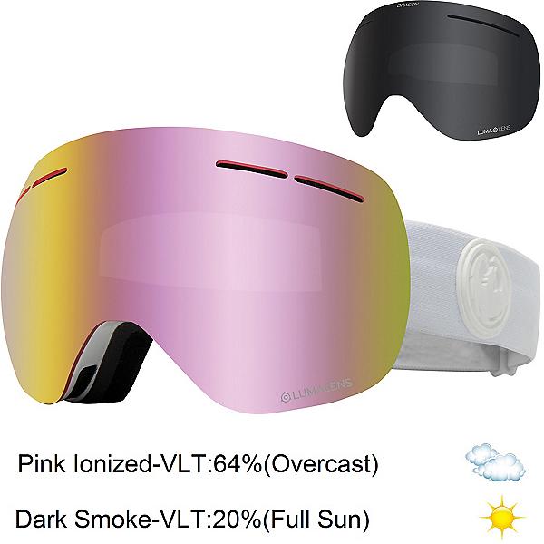 Dragon X1s Womens Goggles 2022, Whiteout-Lumalens Pink Ion + Bonus Lens, 600