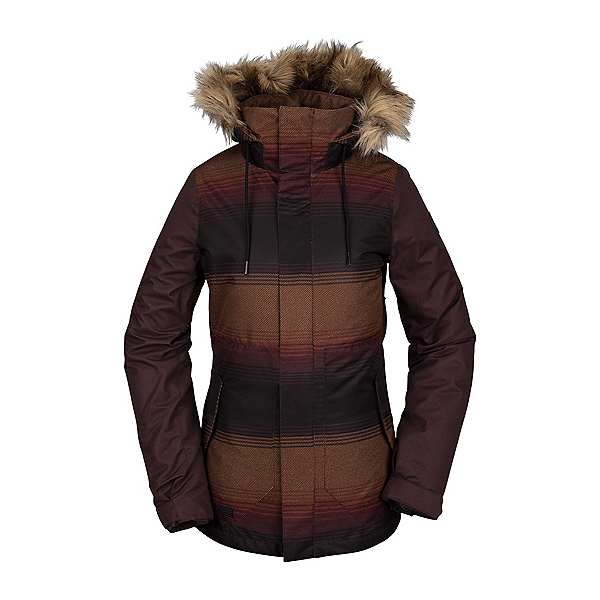 Volcom Fawn Womens Insulated Snowboard Jacket, Stripe, 600