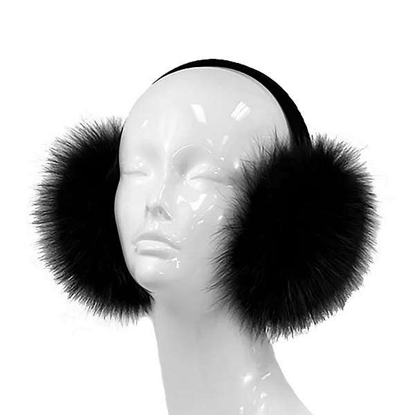 Mitchies Matchings Fox Fur Earmuffs, Black, 600