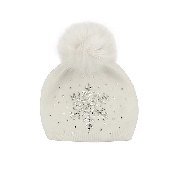 Mitchies Matchings Snowflake Sparkle Hat, White Fox Pom, 600