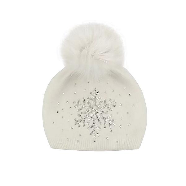 Mitchies Matchings Snowflake Sparkle Womens Hat, White Fox Pom, 600
