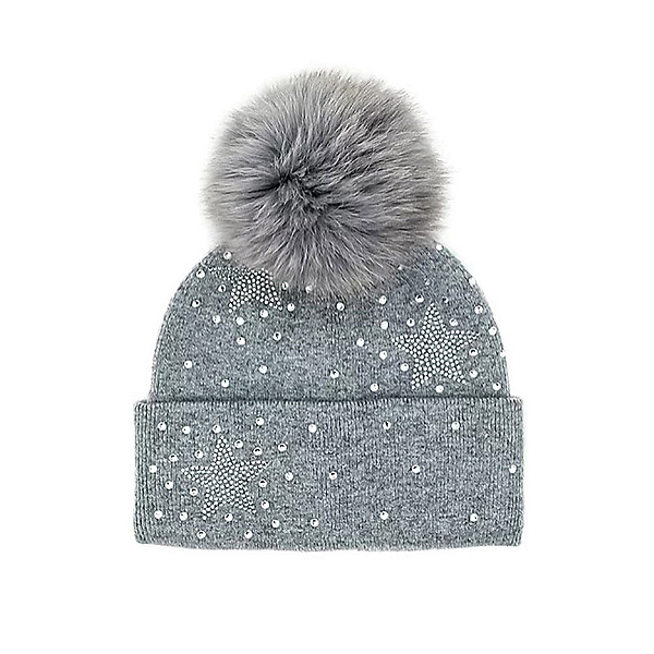 Mitchies Matchings Scatter Star Womens Hat, Grey Fox Pom, 600