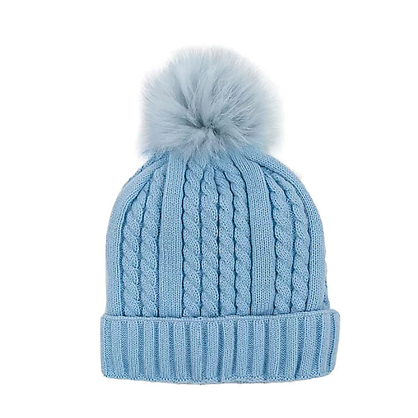 Mitchies Matchings Cable Knit Womens Hat 2022, Baby Blue Fox Pom, 600