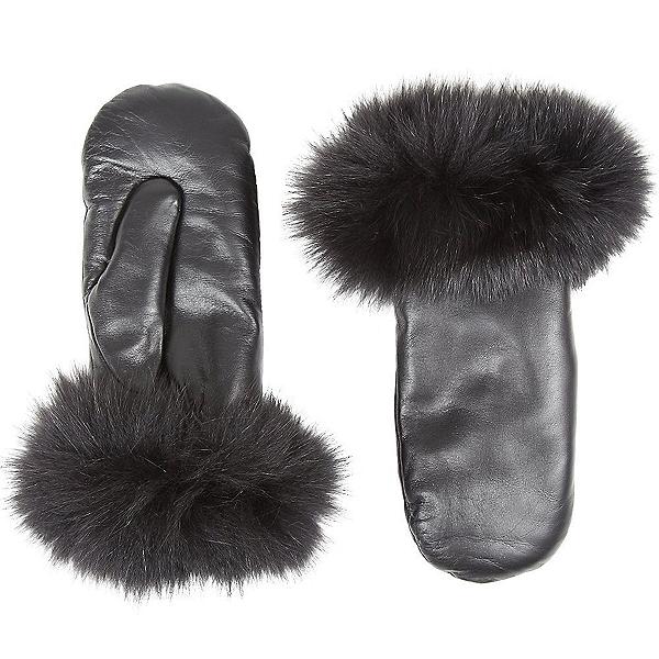 Mitchies Matchings Fur Trim Leather Womens Mitten, Black-Black Fox Fur, 600