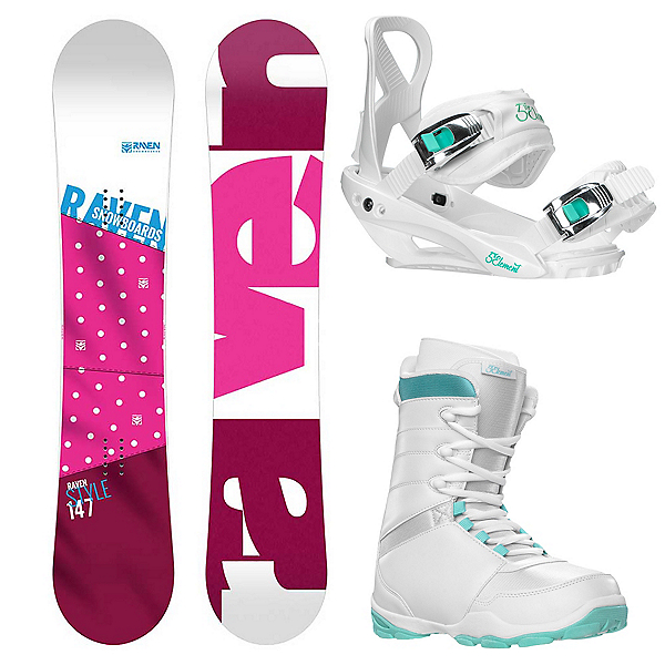 Raven Style Pink Complete Womens Snowboard Package 2019, , 600