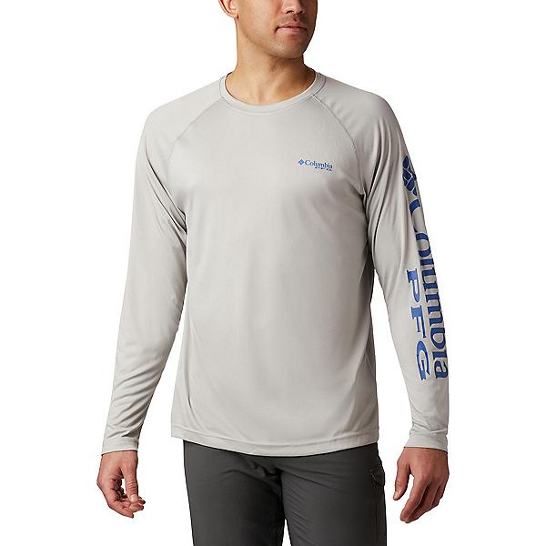 Columbia Terminal Tackle Heather Mens Long Sleeve Shirt, Cool Grey Heather-Vivid Blue, 600