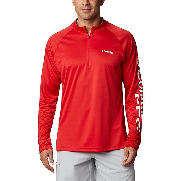 Columbia Terminal Tackle 1/4 Zip Mens Shirt, Red Spark-White, 600