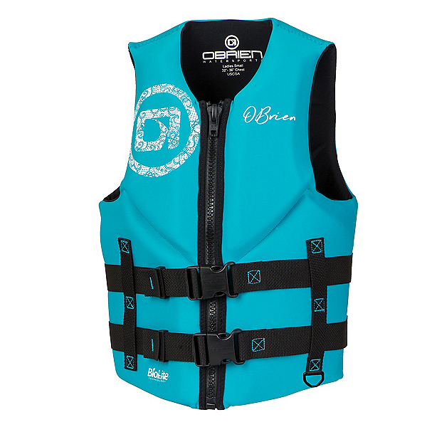 O'Brien Traditional Womens Life Vest, Black-Aqua, 600