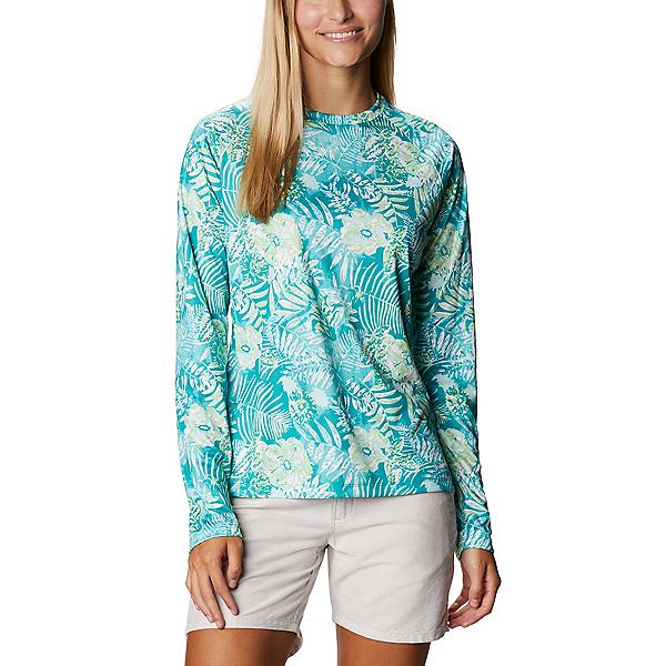 Columbia Super Tidal Tee Long Sleeve Womens Shirt, Tropic Water Batik Floral, 600