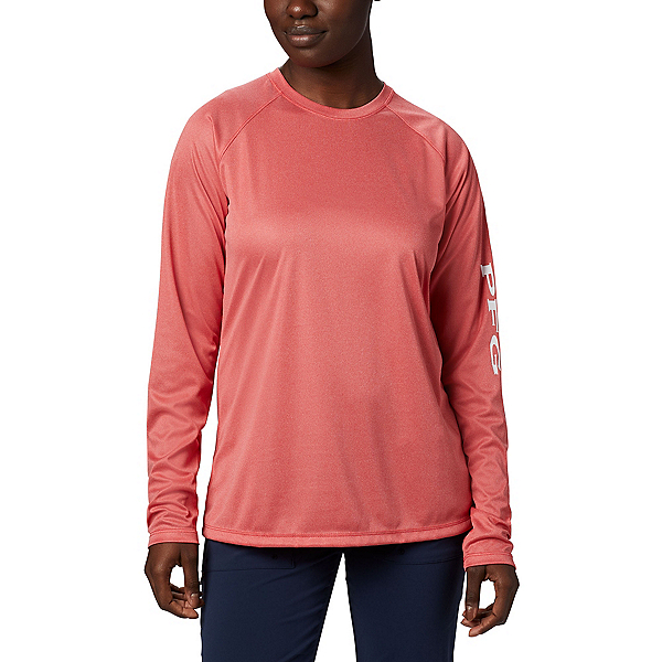 Columbia Tidal Tee Heather Long Sleeve Womens Shirt, Red Lily Heather-White, 600