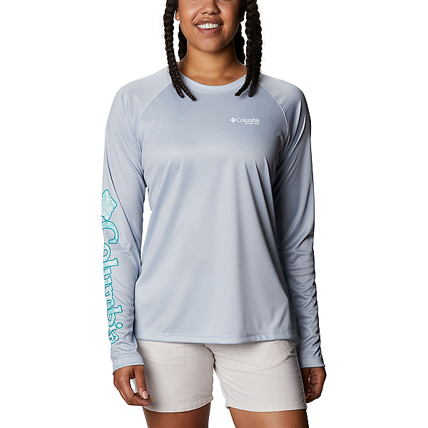 Columbia Tidal Tee PFG Printed Fish Long Sleeve Womens Shirt, Cirrus Grey-Dolphin, 600