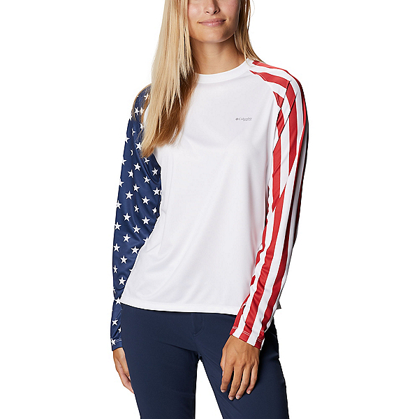 Columbia Tidal Tee PFG Americana Long Sleeve Womens Shirt, , 600