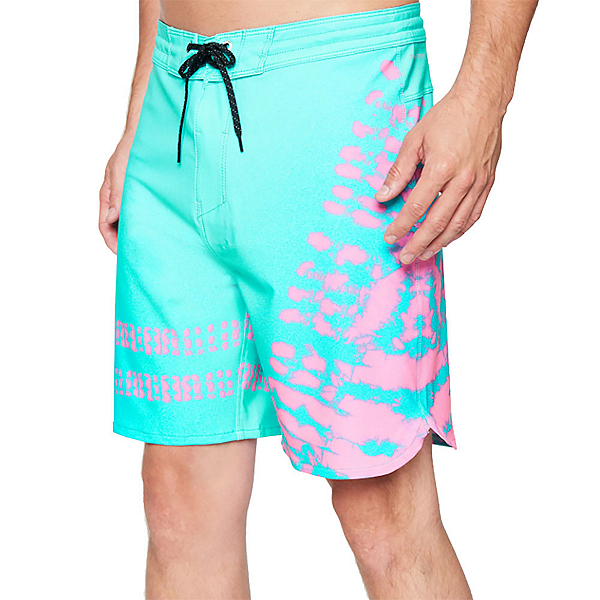 Hurley Phantom+ Block Party 2.0 Strands Mens Board Shorts, Tropical Twist, 600