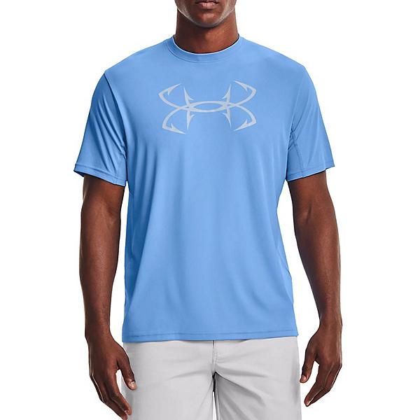 Under Armour Iso-Chill Fish Short Sleeve Mens Shirt, Carolina Blue-Halo Gray, 600