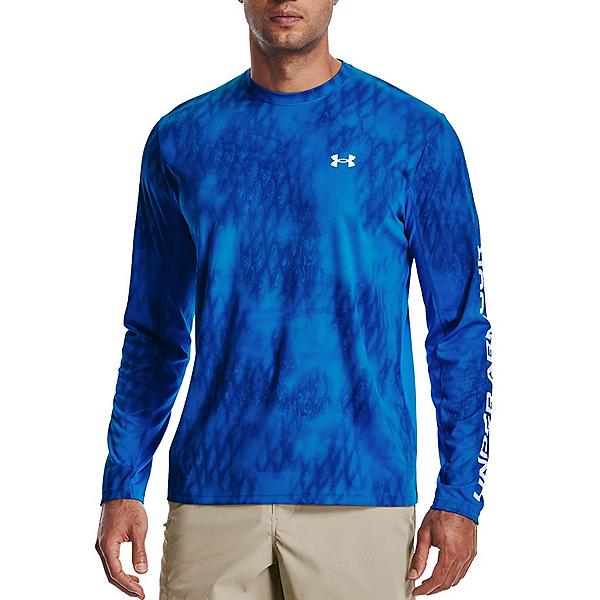 Under Armour Iso-Chill Shorebreak Camo Long Sleeve Mens Shirt, Blue Circuit-Halo Grey, 600