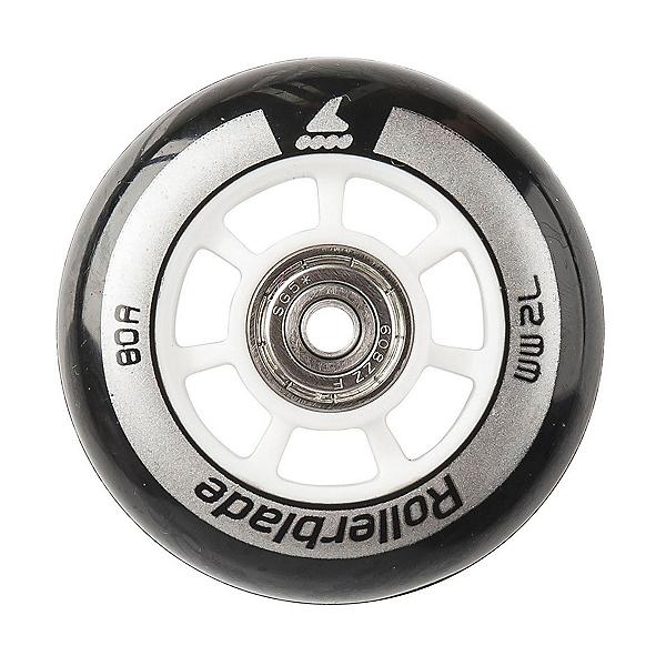 Rollerblade Wheel Kit 72mm/80A Inline Skate Wheels with SG5 Bearings, Black-Grey, 600