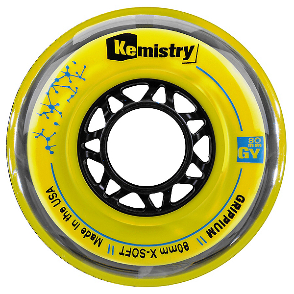Tour Kemistry Grippium 72mm/78A Inline Hockey Skate Wheels, Yellow, 600