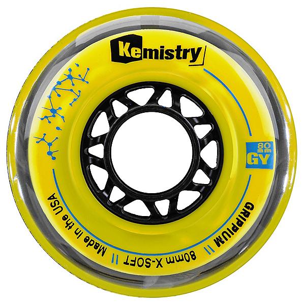 Tour Kemistry Grippium 80mm/78A Inline Hockey Skate Wheels, Yellow, 600