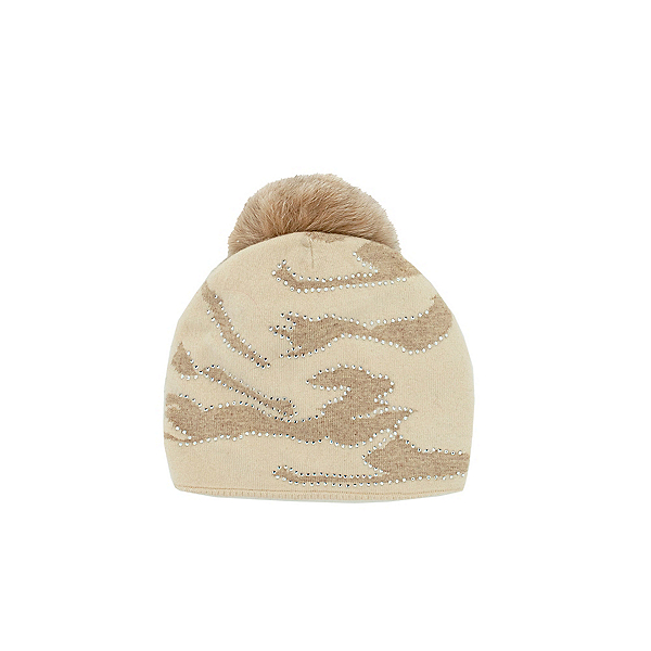 Mitchies Matchings Camo Knitted Fox Pom Womens Hat 2022, Beige-Ivory Camo, 600