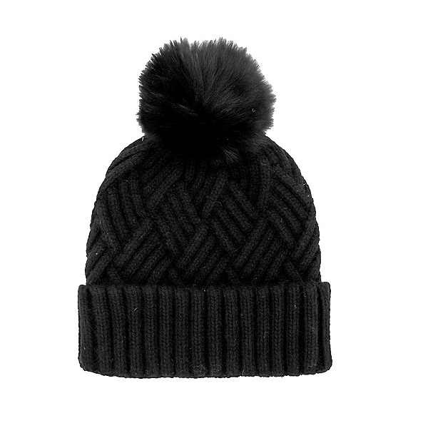 Mitchies Matchings Knitted Fox Pom Womens Hat 2022, Black, 600