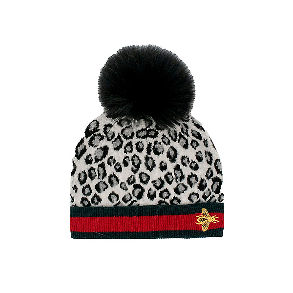 Mitchies Matchings Knitted Animal Print Womens Hat 2022, Black Mix, 600