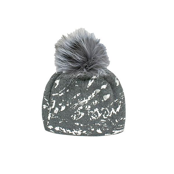 Mitchies Matchings Foil Splash Fox Pom Womens Hat 2022, Grey, 600