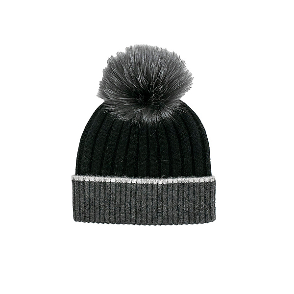 Mitchies Matchings Contrast Knit Fox Pom Womens Hat 2022, Black-Charcoal, 600