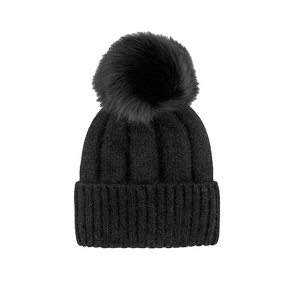 Mitchies Matchings Angora Knit Fox Pom Womens Hat 2022, Black, 600