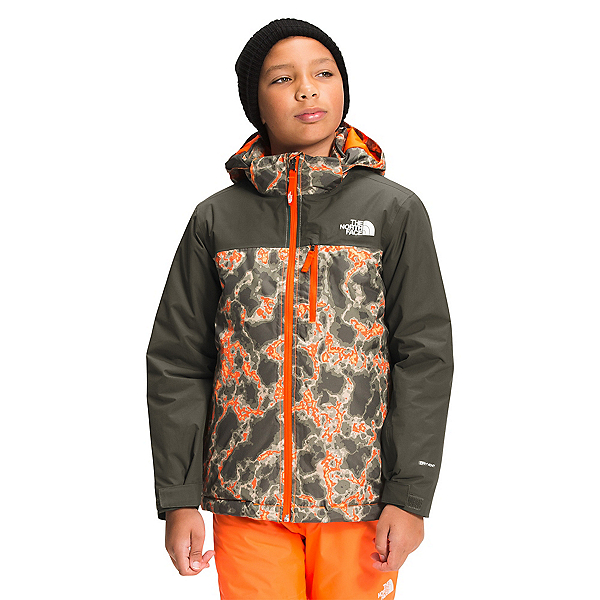 The North Face Snowquest Plus Insulated Boys Ski Jacket 2022, Power Orange Marble Camo, 600