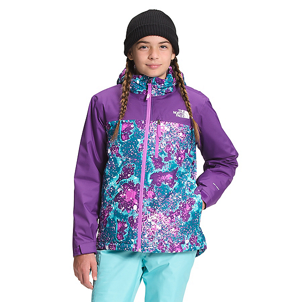 The North Face Snowquest Plus Insulated Girls Ski Jacket 2022, Deep Lagoon Constellation Camo, 600