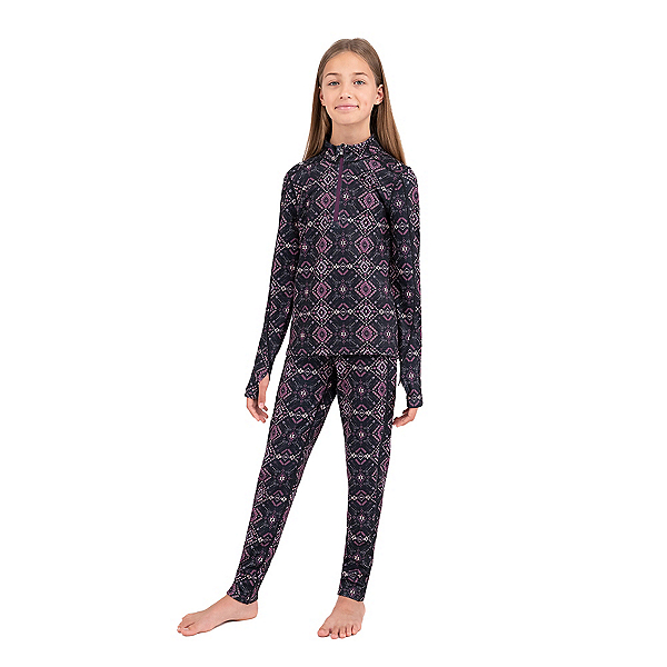 Terramar Ecolator 3.0 Half Zip Girls Long Underwear Top 2022, All Day Fun Geo, 600