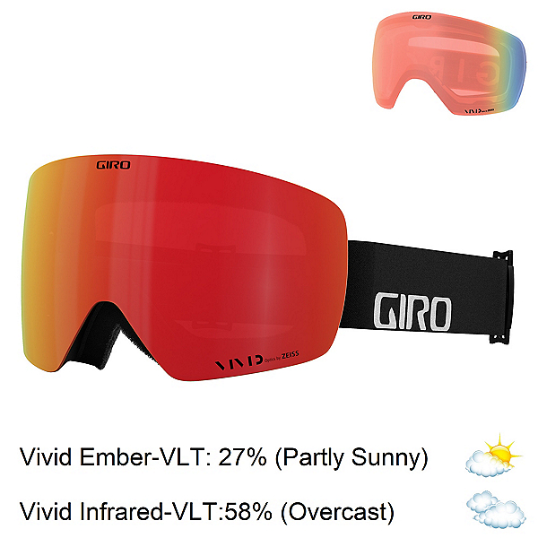 Giro Contour RS Goggles 2022, Black Wordmark-Vivid Ember + Bonus Lens, 600