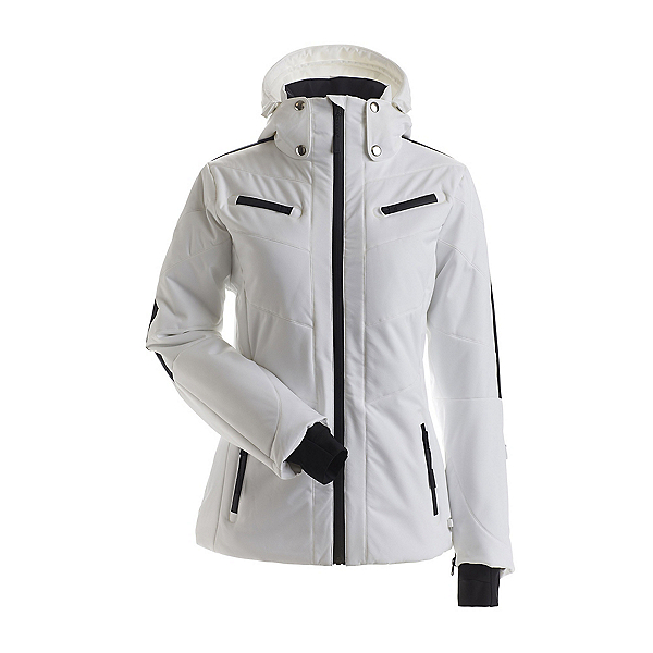 NILS Cody Womens Insulated Ski Jacket 2022, White-Black, 600