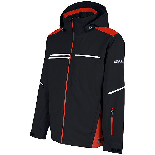 Karbon Aluminum Mens Insulated Ski Jacket 2022, Black Red Arctic White, 600