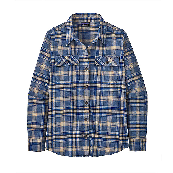 Patagonia Organic Cotton Midweight Fjord Womens Flannel Shirt 2022, Ice Fjord: Dolomite Blue, 600